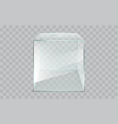 Empty square glass ballot box realistic vector