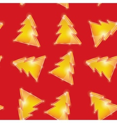 Festive seamless pattern Christmas tree on the red vector image