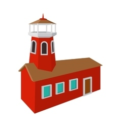 Fire station with red high tower cartoon icon vector image