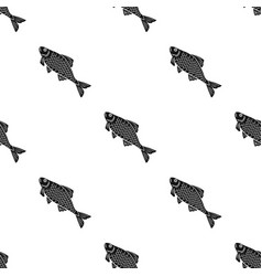 fish icon in black style isolated on white vector image