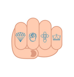 Fist with tattoos on fingers sign brilliant vector
