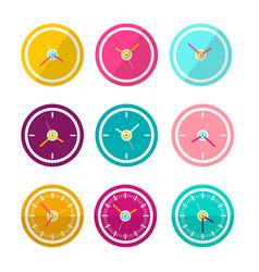 flat design clock faces set isolated on white vector image