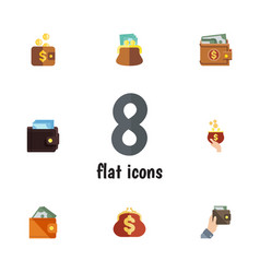 flat icon wallet set of money pouch currency and vector image