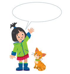 girl and kitten with balloon for text vector image