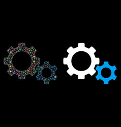 Glowing mesh network gears icon with flare spots vector