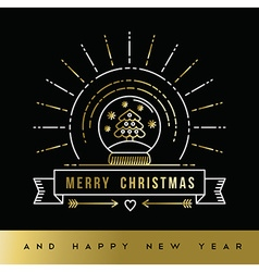 Gold Christmas New Year line art snow globe card vector