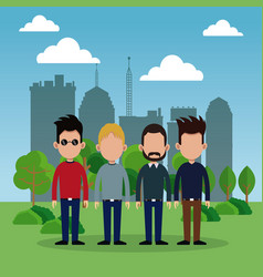 group man park city background vector image