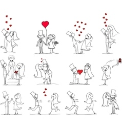 Hand Drawn Wedding Couple Set vector image