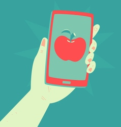 Hand Holding a Phone with an Apple Inside vector image