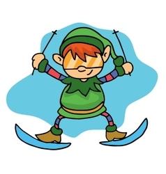 Happy elf skiing Christmas theme vector image
