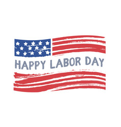happy labor day text on american flag national vector image