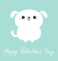 Happy valentines day white dog puppy icon cute vector