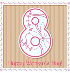 Happy womans day card on cardboard vector
