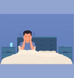 headache a man in bed has a headache migraine vector image