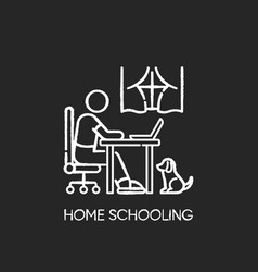 Home schooling chalk white icon on black vector