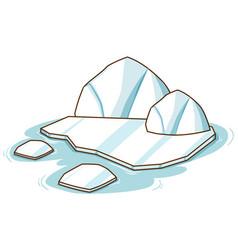 Iceberg in arctic land on white background vector