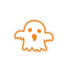 Icon sticker realistic design on paper ghost vector