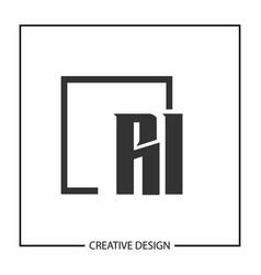 initial letter ri logo template design vector image