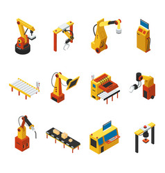 isometric automated machines set vector image