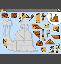 Jigsaw puzzle game with cartoon snail and fly vector