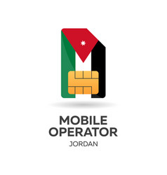 Jordan mobile operator sim card with flag vector