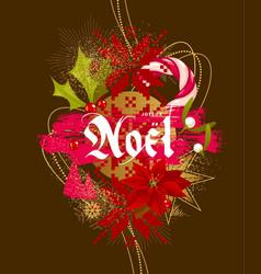 joyeux noel - christmas card vector image