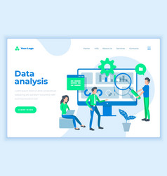 Landing page template data analysis concept with vector