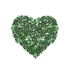 leaf with heart on white background vector image
