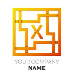 Letter x symbol in the colorful square maze vector