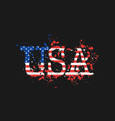 letters usa painted by color splashes vector image