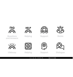 lifebuoy support faq online support icons vector image
