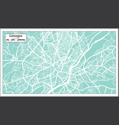 limoges france city map in retro style outline map vector image