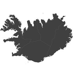 map of iceland split into regions vector image