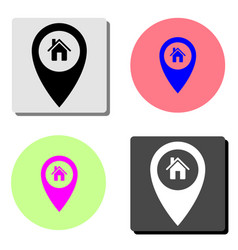 map pointer house home location marker flat icon vector image