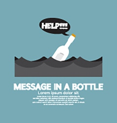 Message in a Bottle Floating In The Sea vector