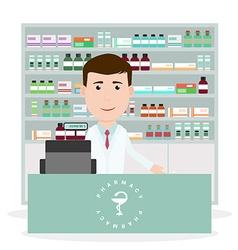 Modern flat of a male pharmacist standing near vector