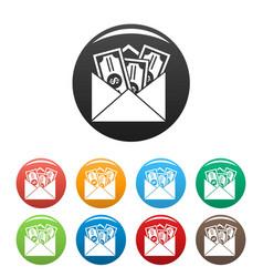 Money corruption icons set color vector