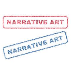 Narrative art textile stamps vector