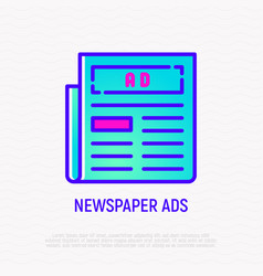 newspaper ad on front page thin line icon vector image