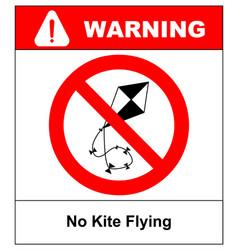 no kite flying sign warning vector image vector image