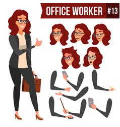 Office worker woman happy clerk servant vector
