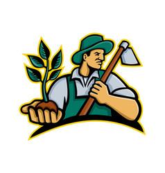Organic farmer holding plant mascot vector