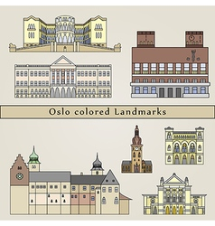 Oslo colored Landmarks vector image