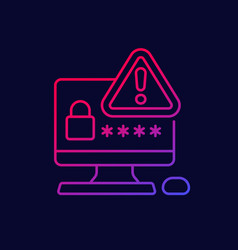 Password warning line icon for web vector