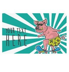 pig skater vector image