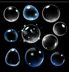 realistic soap bubble on black background vector image