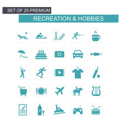 Recreations and hobbies set of icons blue vector