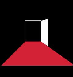 red path to the open door typographic design vector image