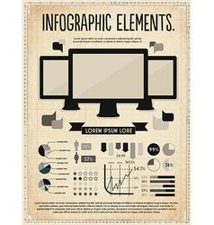 Retro vintage set of infographic elements vector image