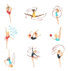 Rhythmic Gymnasts Training With Different vector